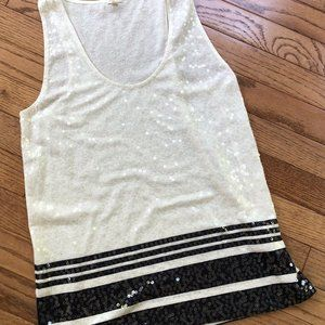 J Crew Womens Navy & Ivory Sequined Striped Tank